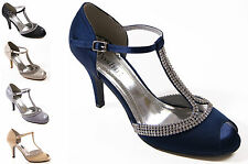 LADIES LOW STILETTO HEEL DIAMANTE T-BAR BUCKLE FASTENING WEDDING SHOES SIZE 3-8