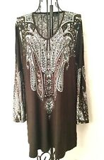 Effortless Style by Citiknits Knit Tunic in Brown with Paisley Print - NEW!