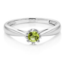 18K White Gold 0.18 Ct Round Green Peridot Solitaire Engagement Ring