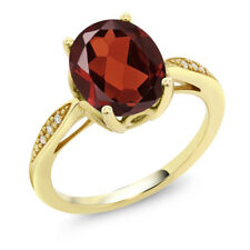 14K Yellow Gold 2.54 Ct Oval Red Garnet and Diamond Ring