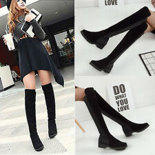 Women Over Knee Winter Boots Thigh High Flat Low Block Stretch Casual Shoes Size