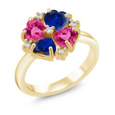 Blue Simulated Sapphire Pink Created Sapphire 18K Yellow Gold Plated Silver Ring