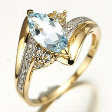 Size 6,7,8,9,10 Woman's Blue Aquamarine 18K Yellow Gold Filled Ring Stamp 10KT