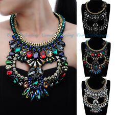 Fashion Jewelry Luxury Glass Cluster Choker Statement Pendant Bib Necklace New