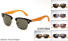 Bamboo Sunglasses Wooden Clubmaster Style Wood Mens Womens Retro Vintage