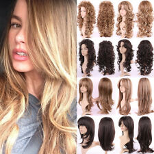 Blonde Ombre Hair Full Wig Curly Wave Straight Fancy Costume Cosplay Real Thick