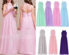 Girls Kids Chiffon Flower Girl Dress Bridesmaid Wedding Pageant Party Maxi Dress