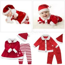 Kids Baby Boy Girl Christmas Santa Claus Costume Tops+Pants+Hat Outfits Clothes