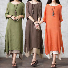 Women Long Sleeve Cotton Linen Loose Dress Casual Party Long Dress Plus Size