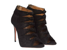 Aquazzura high heels open toe sandals in black suede leather made in Italy