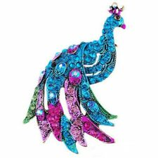 Women Fashion Vintage Bronze Crystal Rhinestone Bling Peacock Brooch Pin GIft