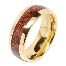 Tungsten Carbide Ring 8mm Wood Inlay 14k Gold Plated Men's Wedding Band