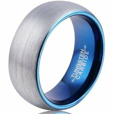 Domed Mens Tungsten Carbide Band 8mm Inner Plating Blue Fashion Wedding Rings
