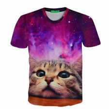 Space Galaxy Cat Mens Casual Short Sleeve Graphic Tee Funny 3D Print T-Shirt BF