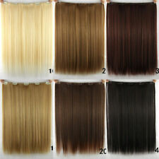 """Women Long Straight Clip in Synthetic Human Hair Extensions 5 Clip 46cm 18"""" 14hh"""