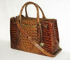 BRAHMIN TOASTED ALMOND BROWN Small LINCOLN COMPUTER BUSINESS CARRYALL TOTE NWT