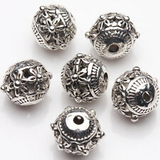10/20Pcs Tibetan Silver Plated Carved Flower Round Spacer Hollow Beads DIY 9*8mm