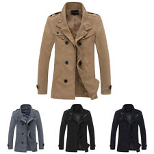 Men Jacket Overcoat Outwear Fit Double Breasted Trench Coat Long Winter Warm Top