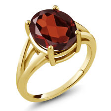 5.60 Ct Oval Red Garnet 18K Yellow Gold Plated Silver Ring