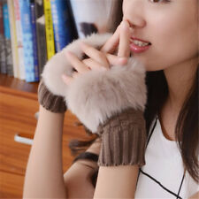Women Arm Warmer Fingerless Gloves Knitted Fur Trim Mittens Solid Color