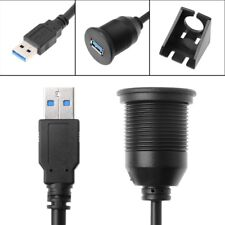 1/2m USB Male To Female AUX Car Dash Panel Flush Mount Extension Adapter Cable