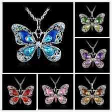 Fashion Silver Butterfly Colorful Crystal Pendant Choker Sweater Necklace Chain