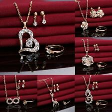 Fashion Wedding Bridal Crystal Love Heart Necklace Earrings Ring Jewelry Set New