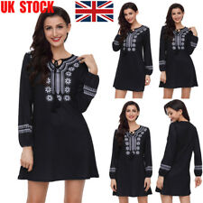 UK Christmas Womens V Neck Long Puff Sleeve Lace Up Baggy Casual Mini Dress Lady