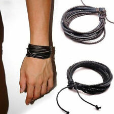 Leather Braided Woven Mulit Wrap Hemp Surfer Braid Cuff Bracelet Jewelry Lover