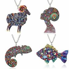 Charm Colorful Printing Animal Sheep Fish Pendant Necklace Women Jewelry Gift