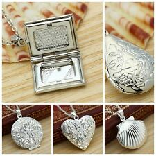 925 Sterling Silver Picture Locket Hollow Heart Photo Pendant Necklace Openable