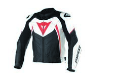 Dainese Avro D1 Mens Leather Motorcycle Jacket White/Black/Fluo Red