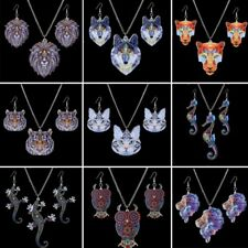 Vintage Printing Cat Tiger Pendant Necklace Earrings Jewelry Set Christmas Gift