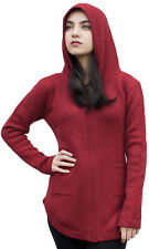 Womens Alpaca Wool Hooded Shaped Jacket Sweater Coat