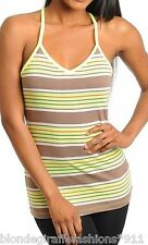 Green/Brown Stripe Racer-Back Jersey Stretch Cami/Tank Top S M L
