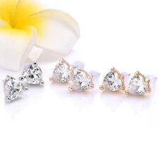 Lovely Womens Stud Earrings Silver Plated Gold Plated Rose Plated Heart