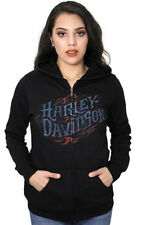 Harley-Davidson Fiery Flames Womens Black Full Zip Long Sleeve Hoodie Jacket