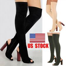 US Women Over Knee Boots Thigh High Heel Stretchy Peep Toe Party Club Shoes Size