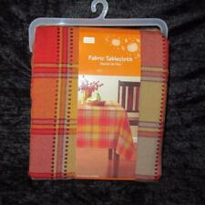 ALL SIZES 52x70~60x84~60x102~Fall Fabric Tablecloth~Thanksgiving~Red/Orange~NEW