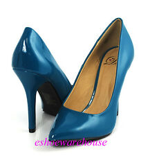 Dark Teal Patent Awesome Sexy Height Pointy Pointed Toe Stilettos Heels Pumps