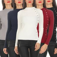 5302 Ladies Fine Knit-sweater Jumper Stand Up Collar Knitted Jumper Studs