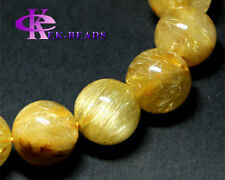 Genuine Gold Hair Rutile Quartz Men Bracelet Round Beads Rutilated Big Fortune