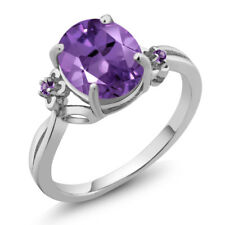 2.24 Ct Oval Purple Amethyst 925 Sterling Silver Ring