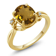 2.04 Ct Oval Whiskey Quartz White Topaz 18K Yellow Gold Plated Silver Ring