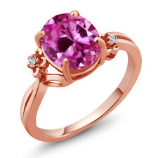 3.29 Ct Oval Pink Created Sapphire White Topaz 18K Rose Gold Plated Silver Ring