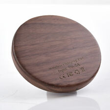 Portable Qi Wireless Charger Slim Wood Pad Charging Dock Mat for iPhone Samsung
