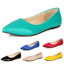Dolly Pumps Summer Ladies Slip On Casual Pu Leather Shoes Ballet Flats US 2-15