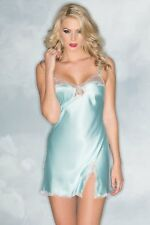 Be Wicked Lingerie Satin Babydoll with Lace trim blue