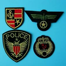 4 Pc Patch Army Police Anchor Badge Iron Sew on Embroidered Applique Biker Badge