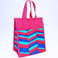 Pink Turquoise Geometric Insulated Lunch Tote Bag-Lunch Bag